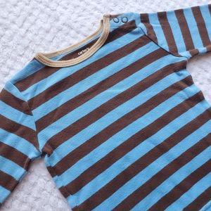Blue & brown striped long sleeve shirt